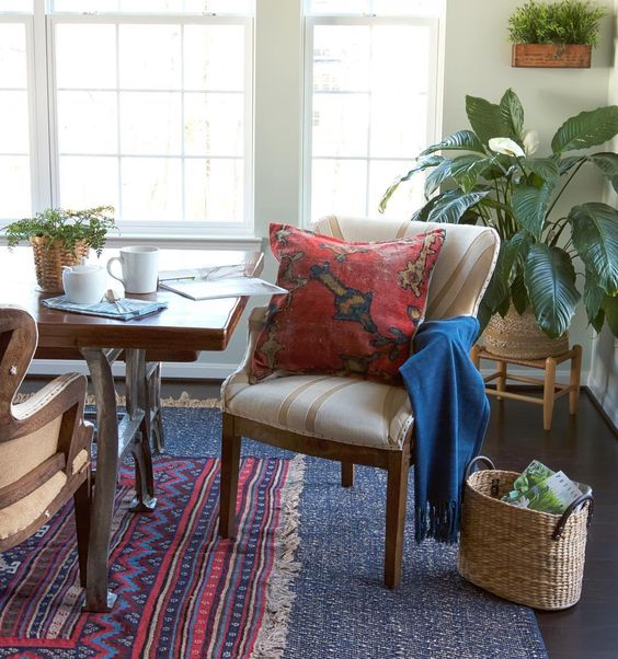 Layered Rugs Boho Dining Room