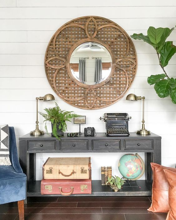 Statement making wood mirror and weathered console with display shelf kellyelko.com