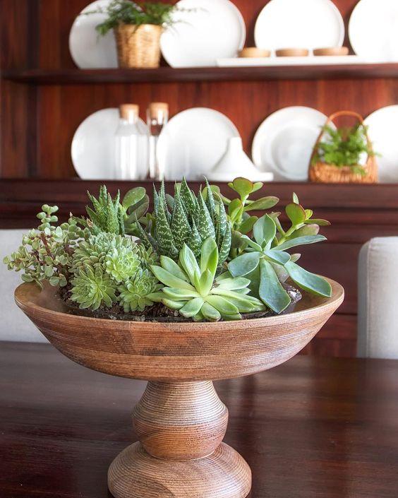 Bowl of succulent centerpiece kellyelko.com