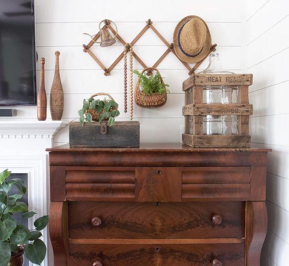Antique dresser with neutral vintage pieces kellyelko.com
