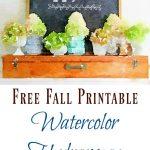 Watercolor Hydrangea Fall Printable (+ 25 Free Printables)