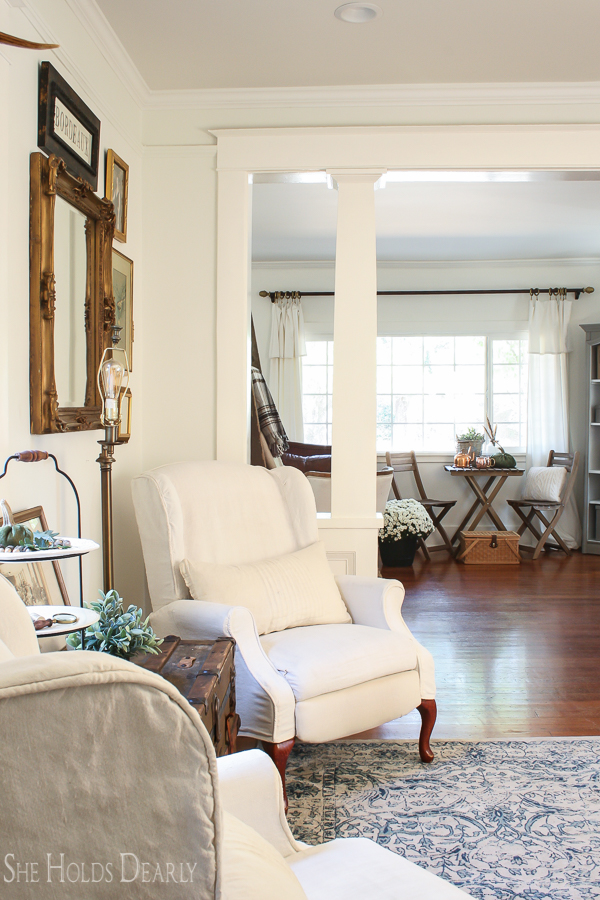 Farmhouse tour - love the pair of wingback chairs