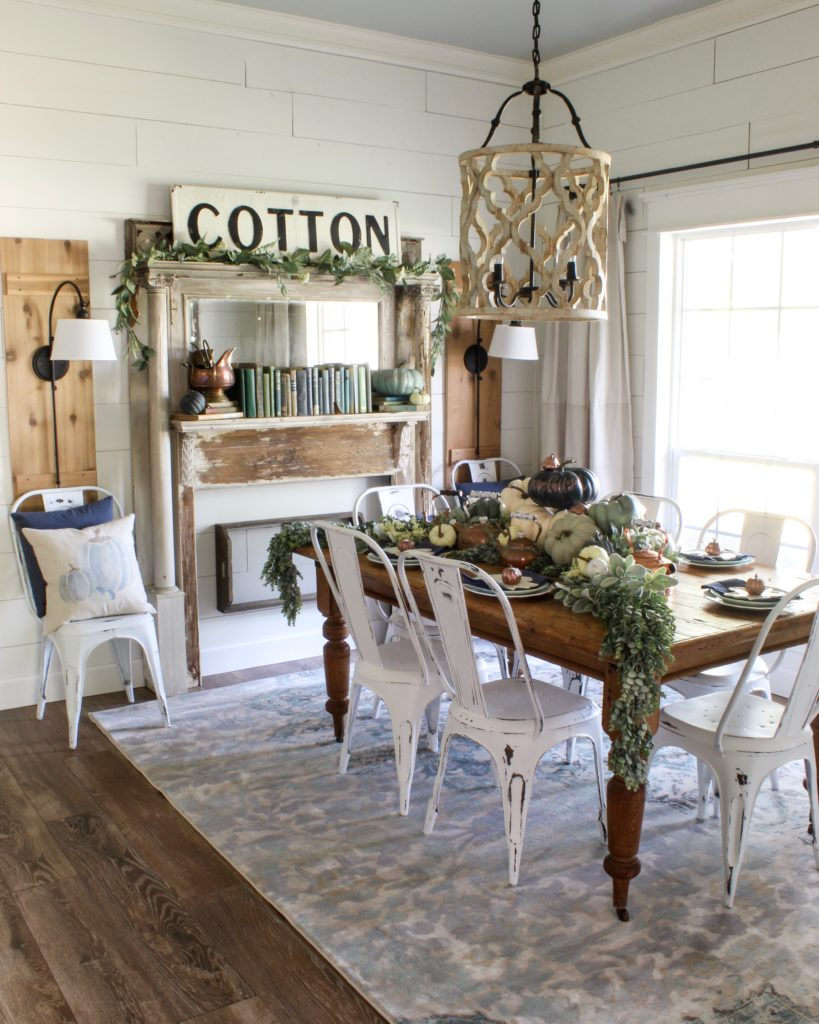 Farmhouse tour - love the shiplap walls and antique table and chippy mantel