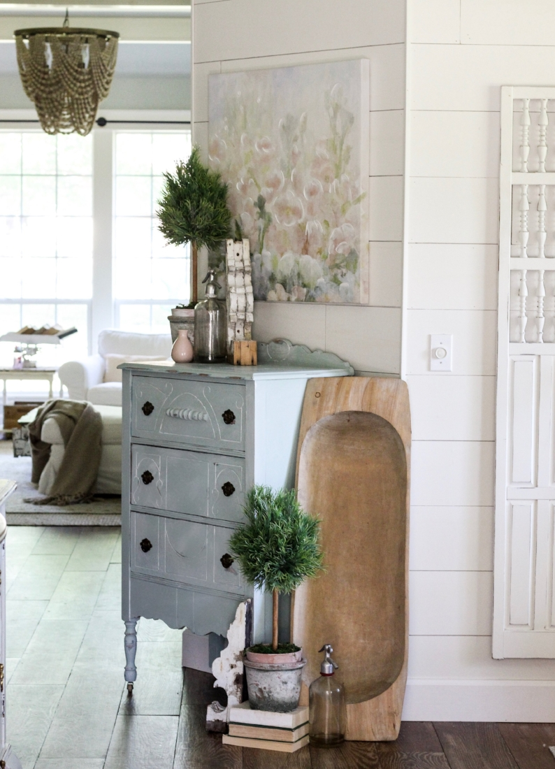 Farmhouse tour - love the shiplap foyer with antique blue chest