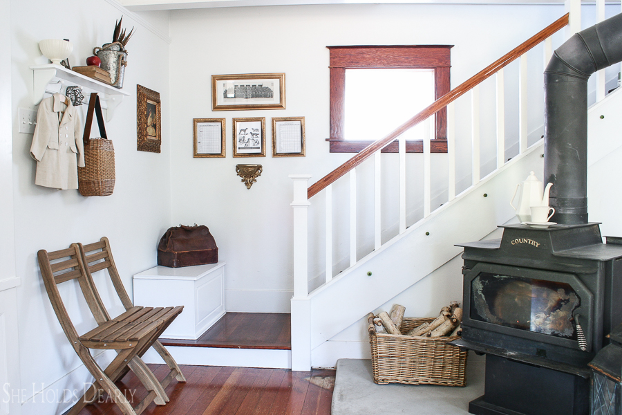 Farmhouse tour - love the antique wood burning stove