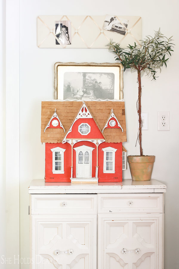 Farmhouse tour - love this cute little red dollhouse