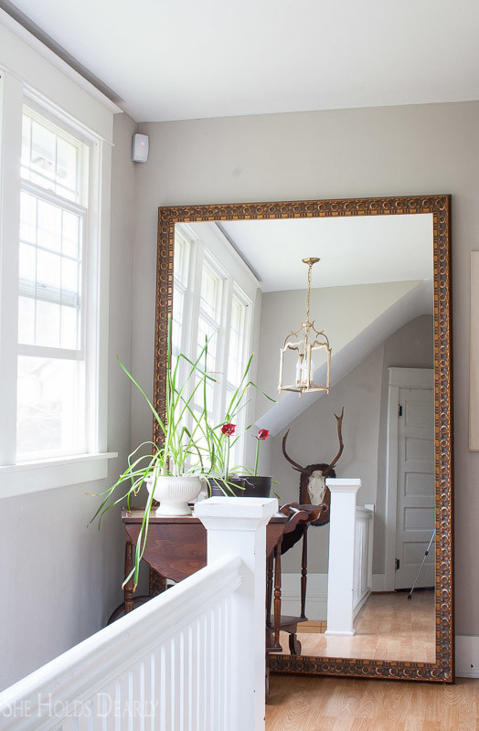 Farmhouse tour - love the giant mirror in the hallway
