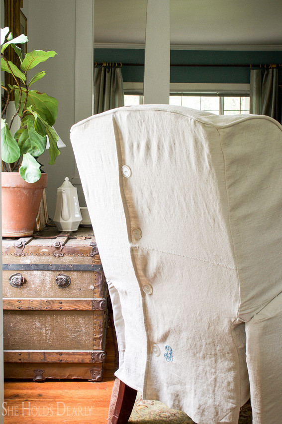 Farmhouse tour - love the upholstered linen chairs
