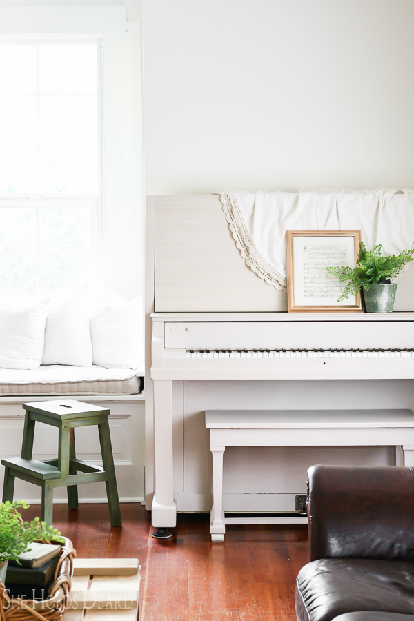 Farmhouse tour - love the painted piano