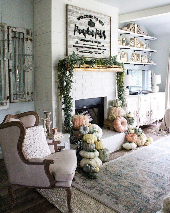 Farmhouse tour - love the pumpkin mantel
