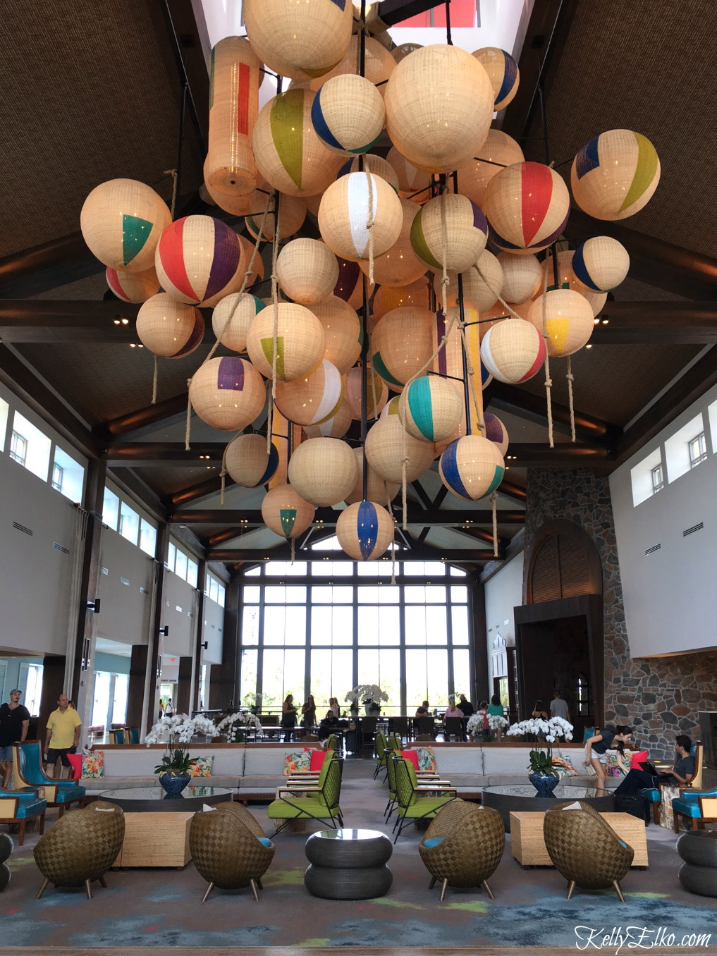 Sapphire Falls Resort - love the amazing beach ball chandelier in the lobby kellyelko.com