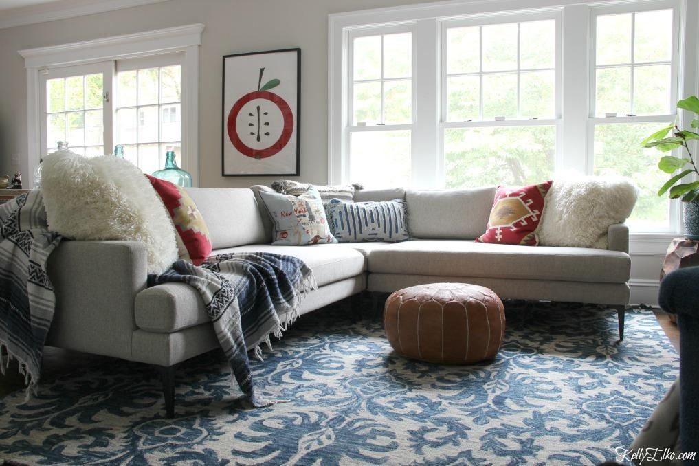 Sectional Sofa Rug Size Baci Living Room