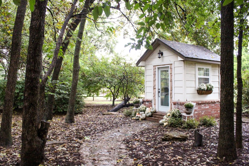 Farmhouse tour complete with tiny she shed office