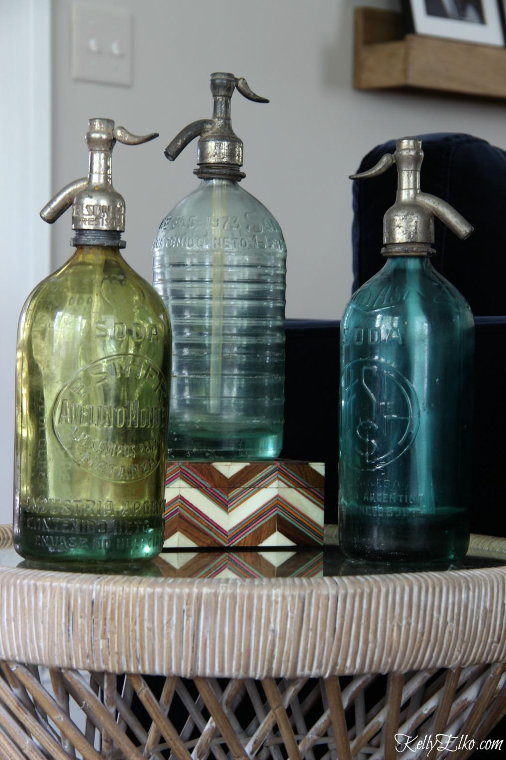 Trio of vintage seltzer bottles kellyelko.com
