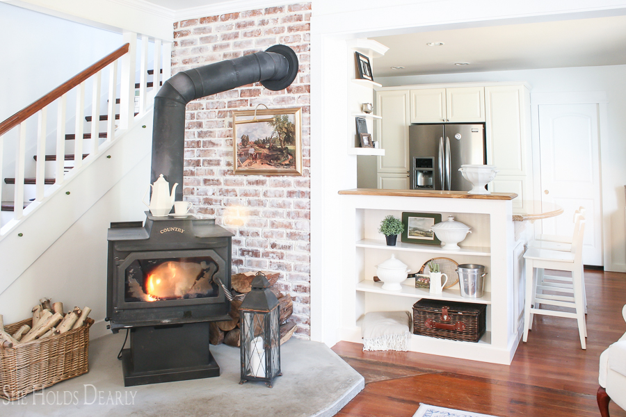 Farmhouse tour with antique wood burning stove