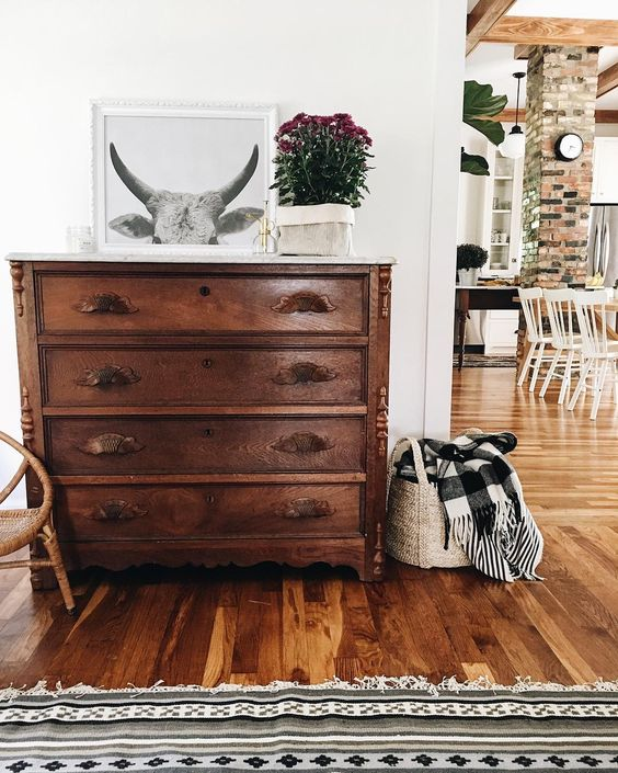 Farmhouse Tour - love this old wood dresser