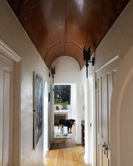 Love the barrel ceiling in this 1927 home tour