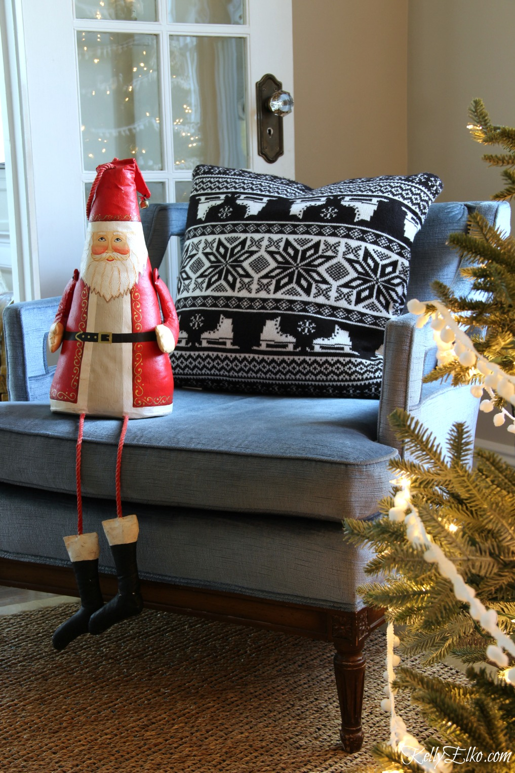 Christmas Home Tour - love this cute little Santa kellyelko.com