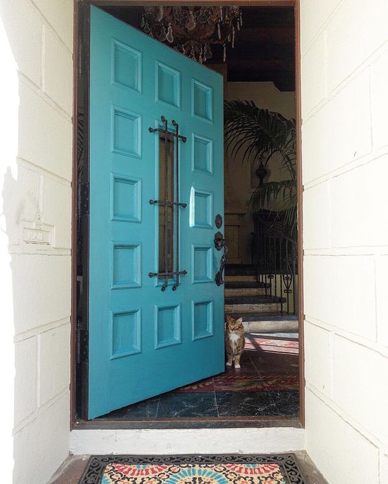 1927 home tour - love the original door painted a vibrant blue