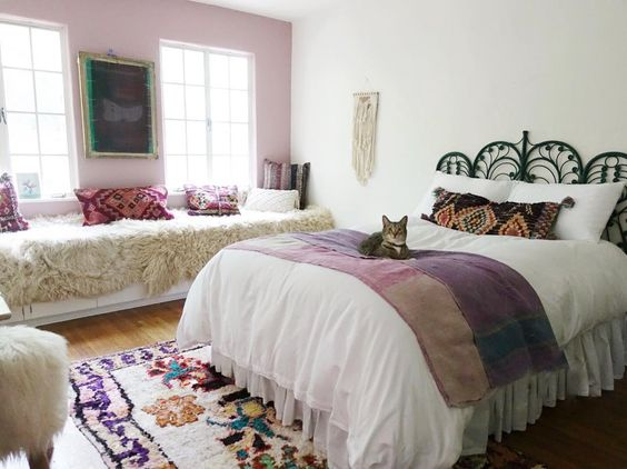 Fun boho girls bedroom in pinks and purples