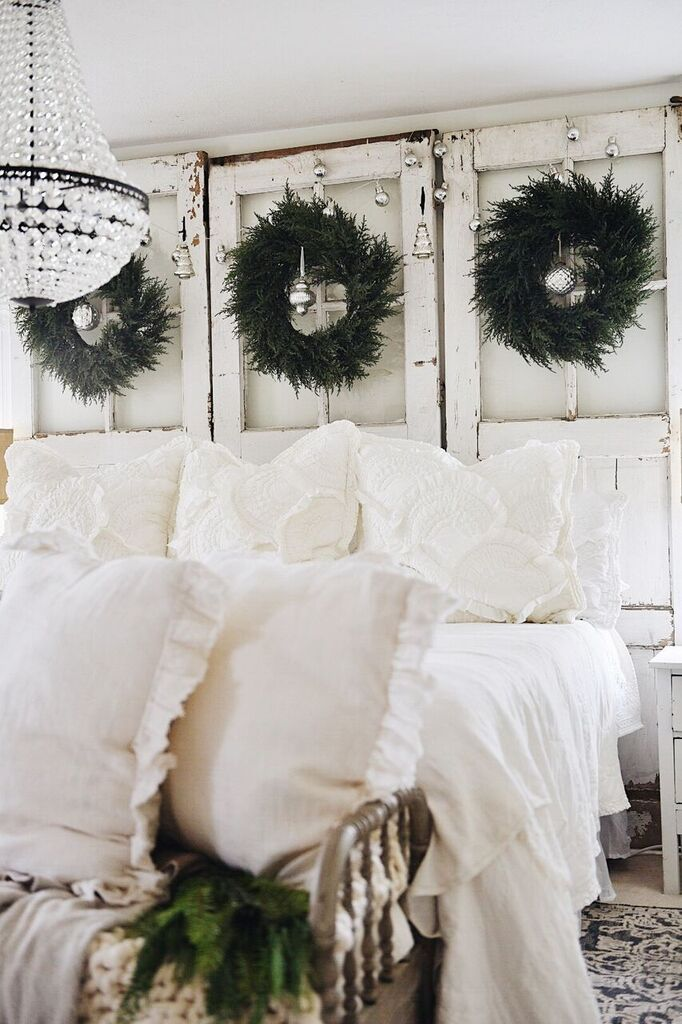 Creative Christmas Decorating Ideas - love this door headboard with wreaths