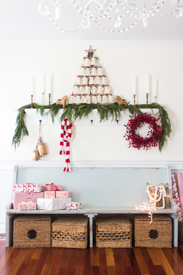 Creative Christmas Decorating Ideas - love this festive entry with old church pew
