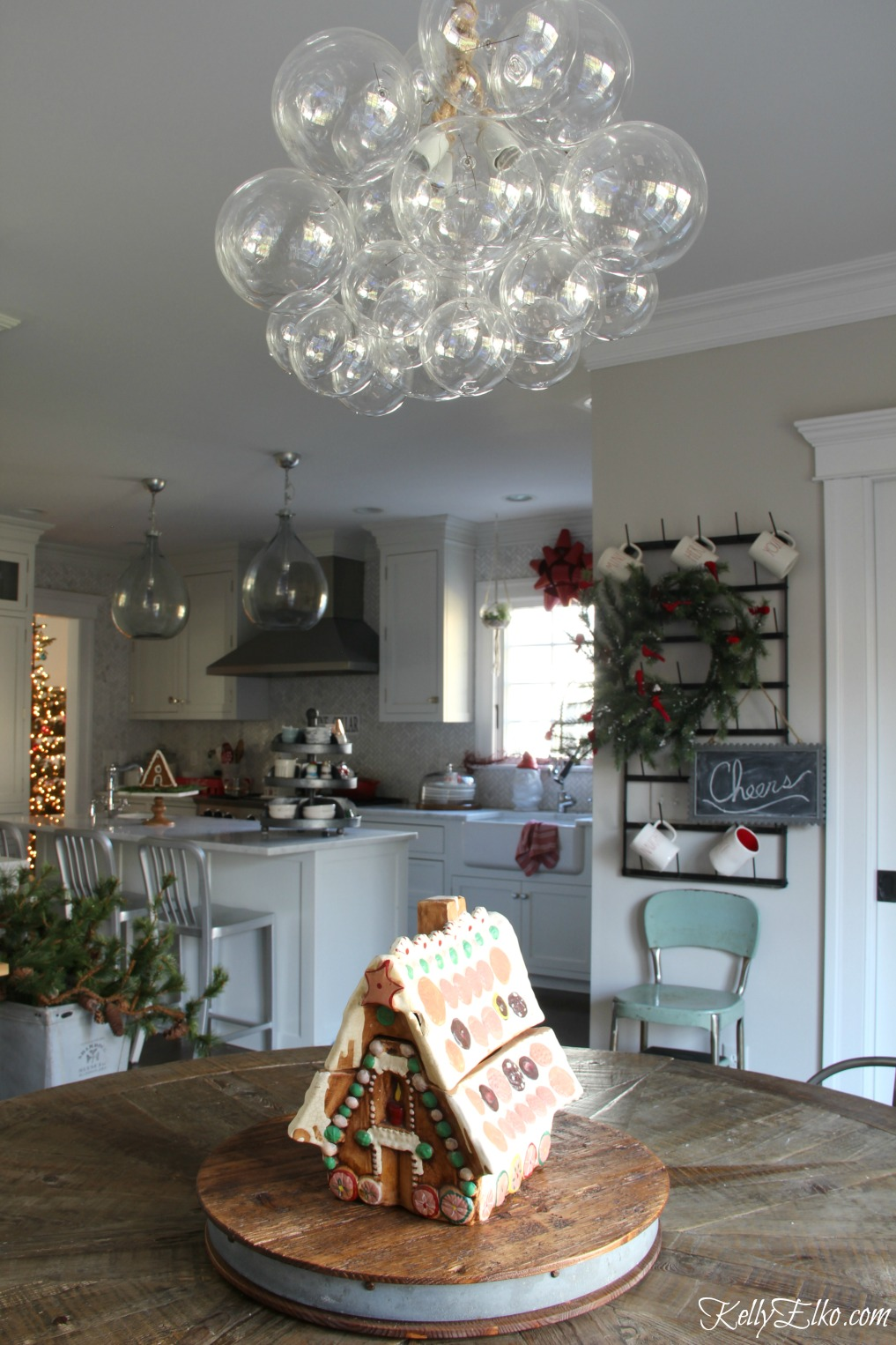 Christmas Kitchen - love this bubble glass chandelier kellyelko.com