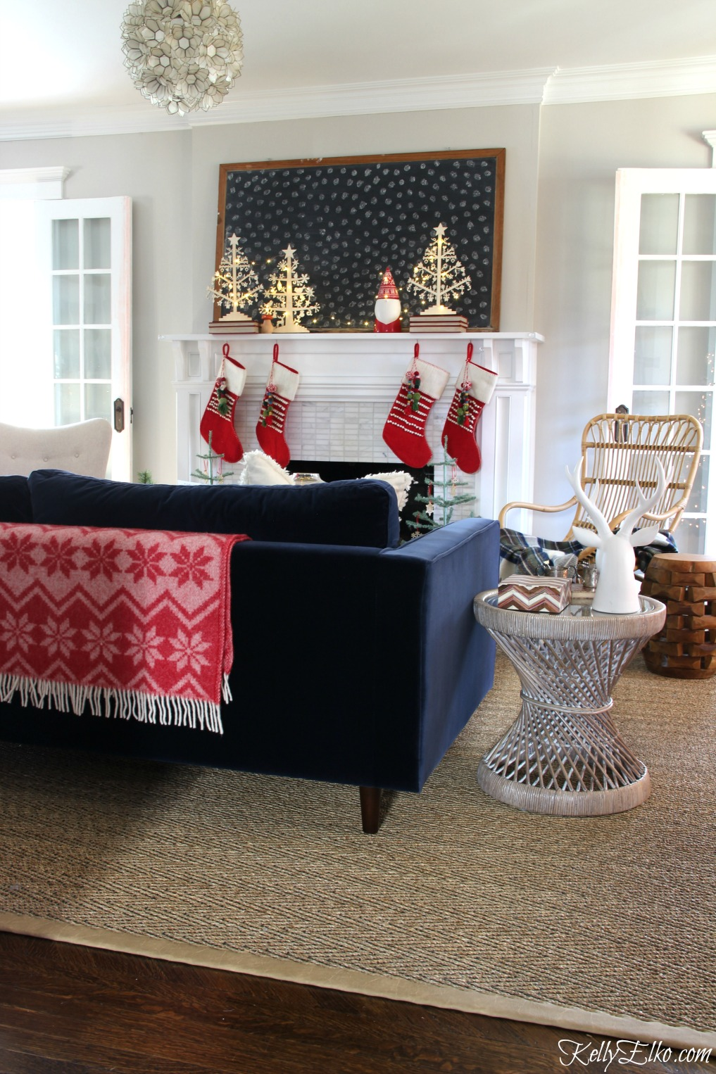 Christmas Home Tour - love the Scandinavian style mantel kellyelko.com