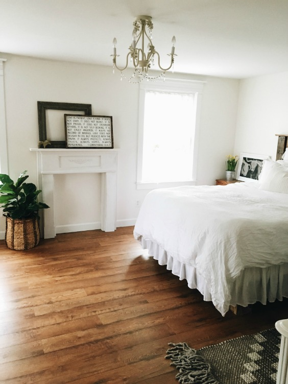 Farmhouse Tour - neutral master bedroom
