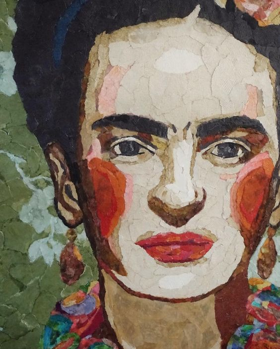 Love the detail in this torn paper art of Frida Kahlo
