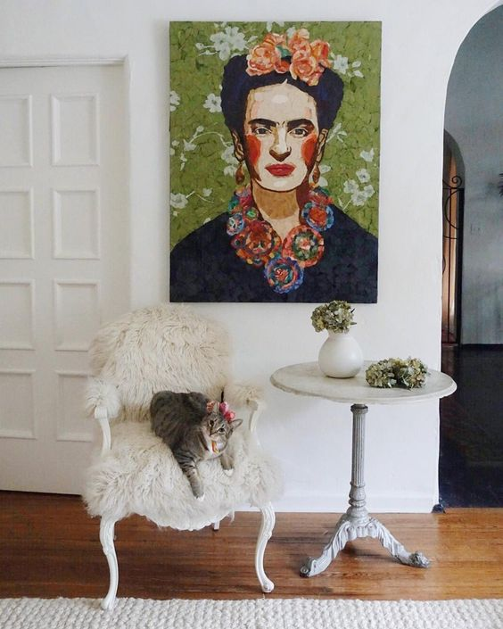 Frida Kahlo torn paper art