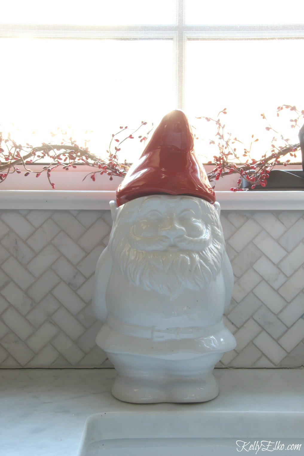Christmas Kitchen - love this cute little gnome cookie jar kellyelko.com