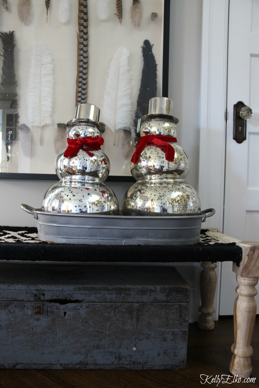 Christmas Home Tour - love these cute mercury glass snowmen kellyelko.com