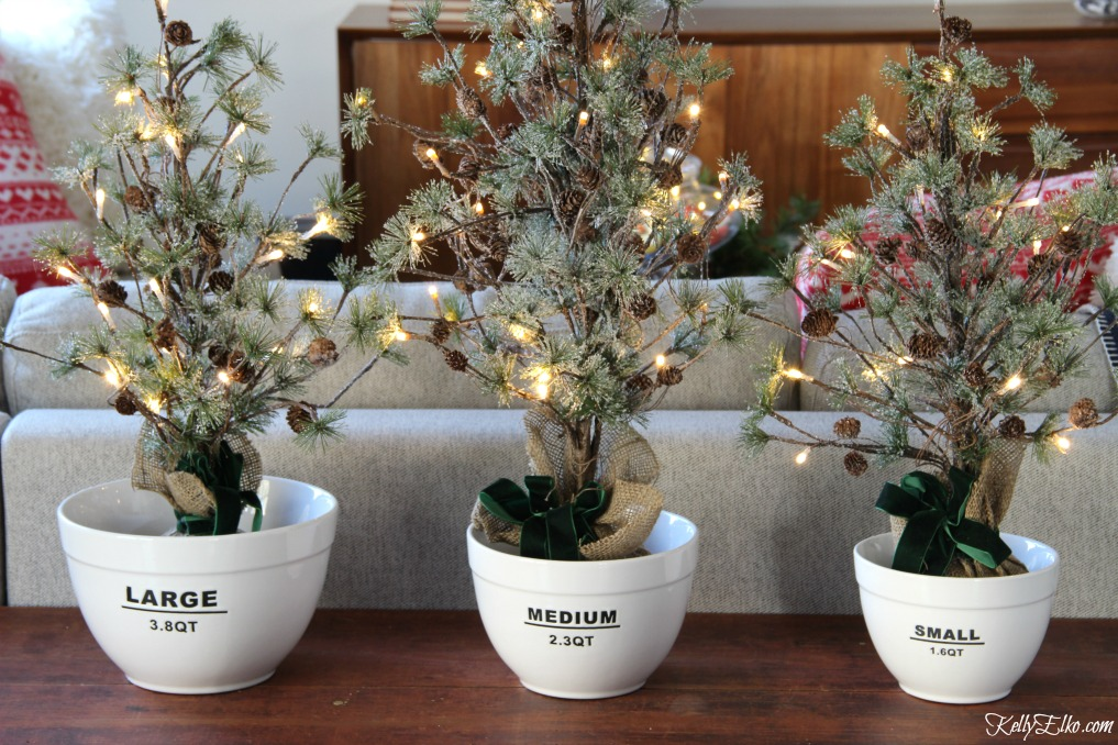 Christmas Kitchen - love this trio of bowls holding mini Christmas trees kellyelko.com