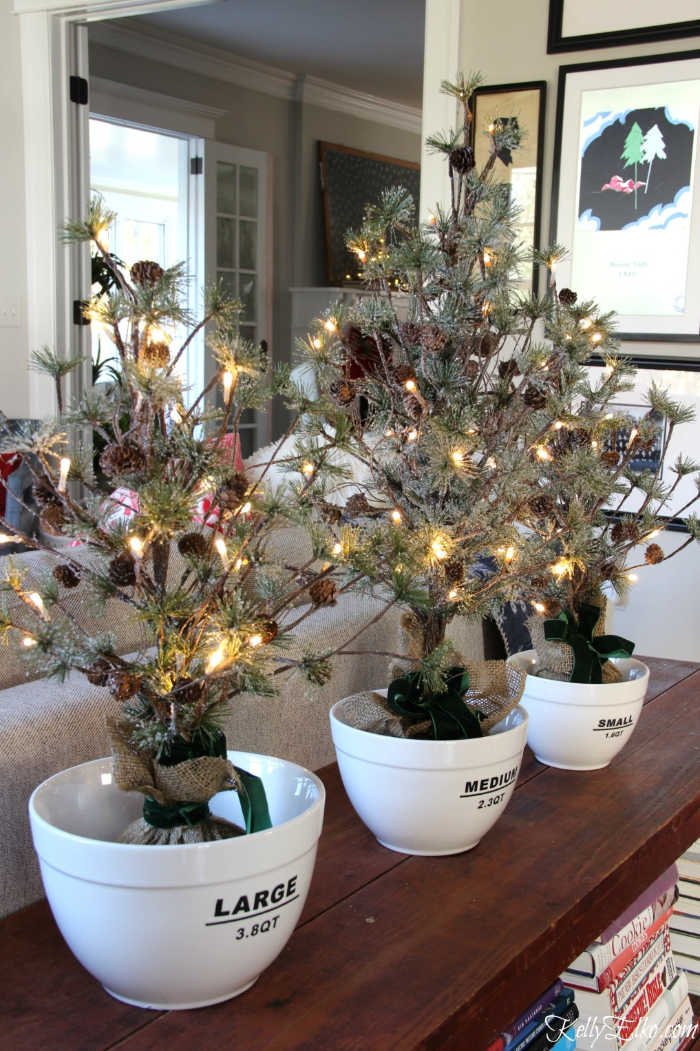 Christmas Home Tour - love these mini trees in bowls! kellyelko.com