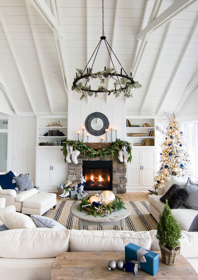 Creative Christmas Decorating Ideas - love this stunning family room with stone fireplace