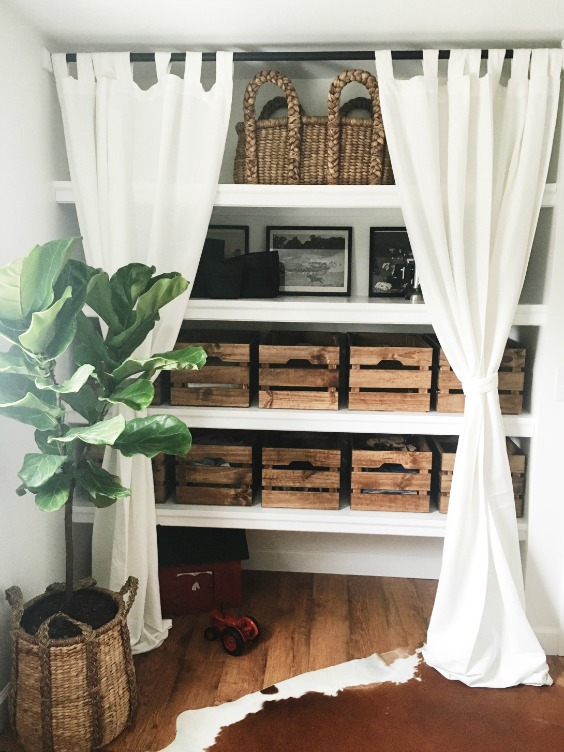 Farmhouse Tour - turn a closet into open shelf storage
