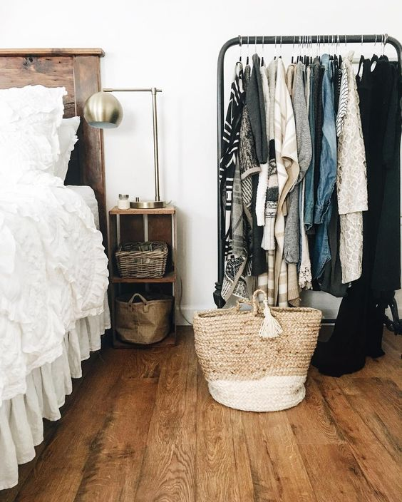 Farmhouse Tour - use a rolling rack for clothes display