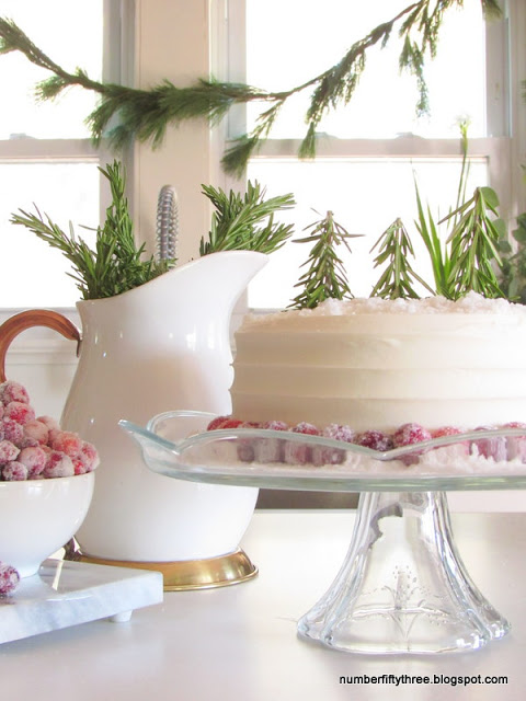 Creative Christmas Decorating Ideas - love this cake with rosemary trees