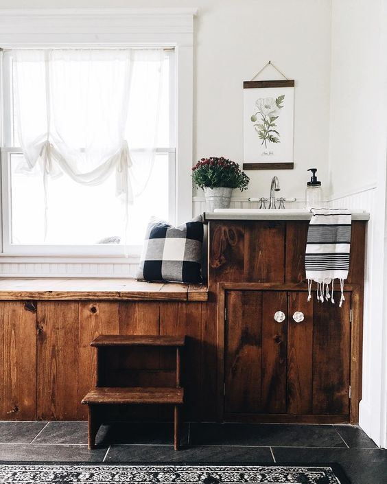Farmhouse Tour - love this reclaimed wood bathroom vanity