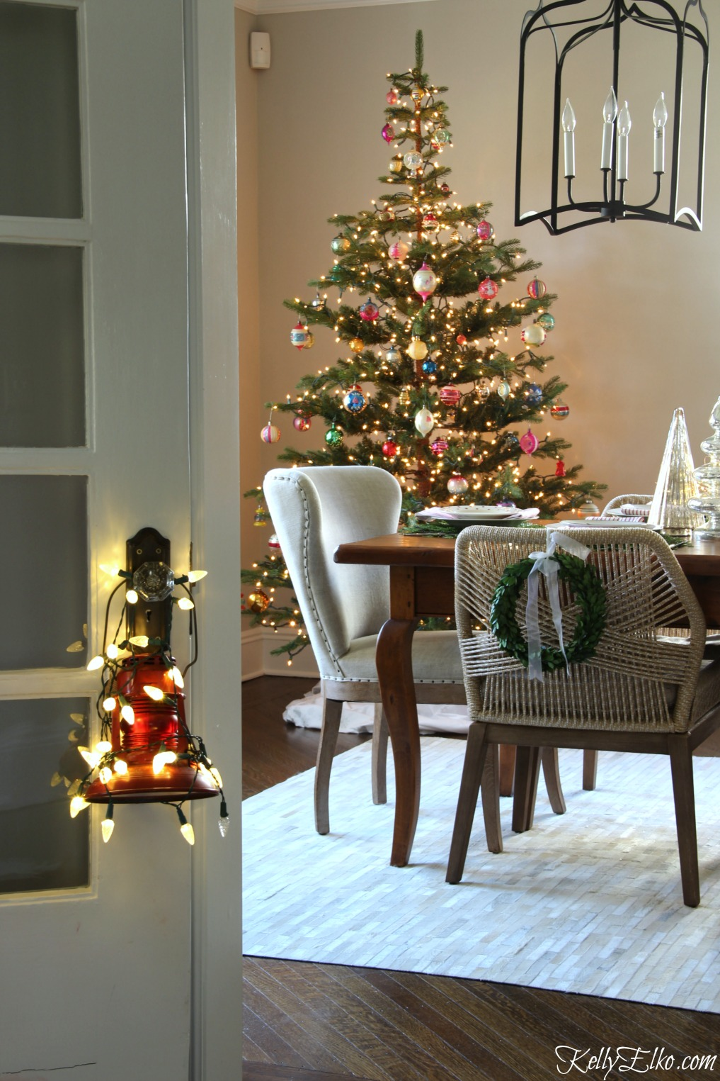 Christmas Home Tour - what a gorgeous tree filled with vintage ornaments kellyelko.com
