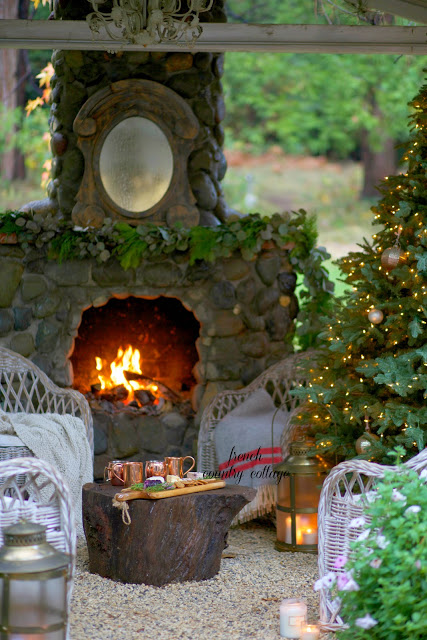 Creative Christmas Decorating Ideas - love this stunning stone fireplace