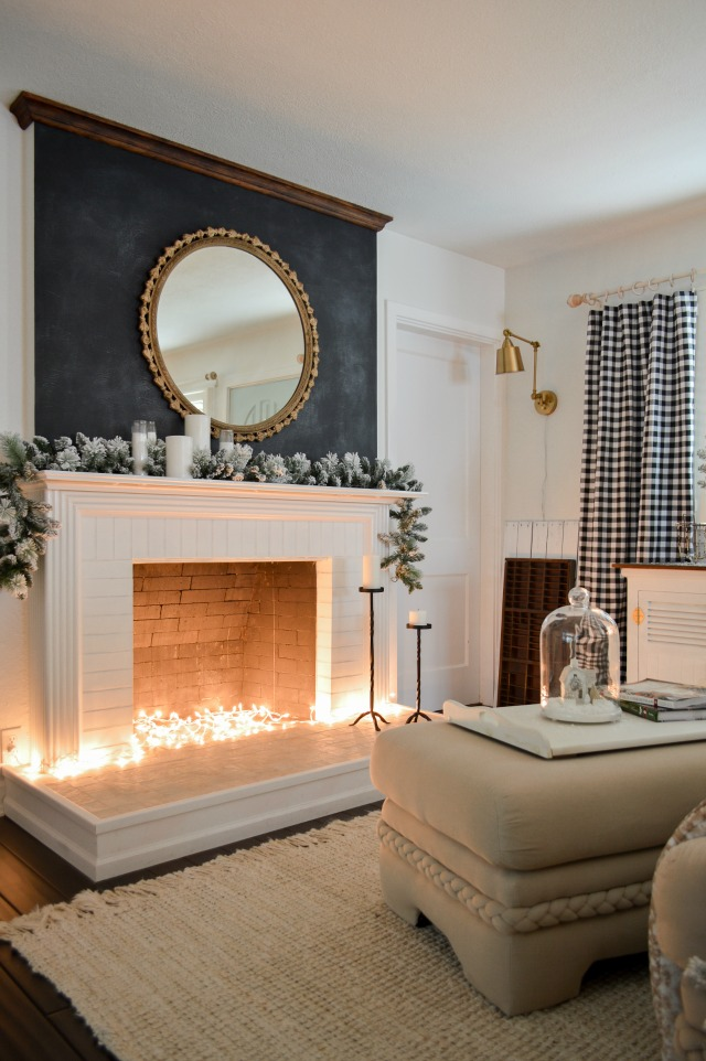 Creative Christmas Decorating Ideas - love the string lights in the fireplace