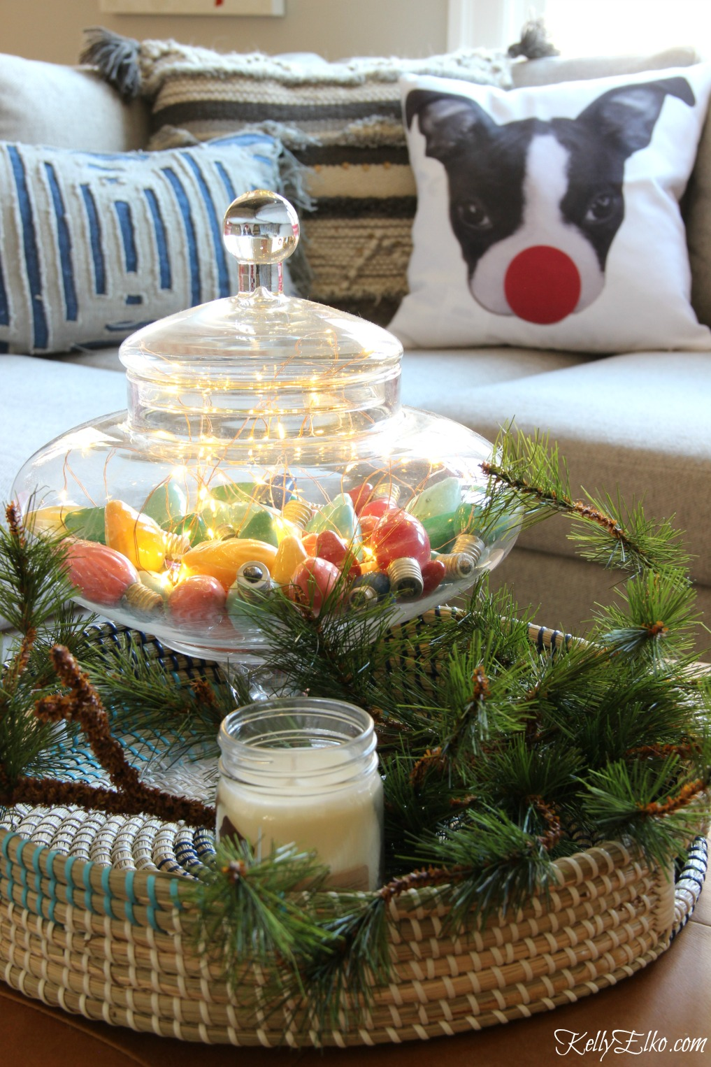 Christmas Home Tour - love the jar of vintage bulbs with copper fairy lights kellyelko.com