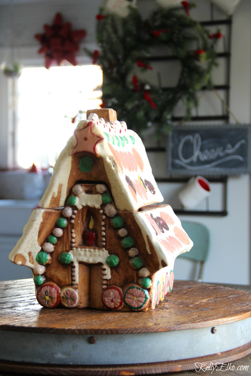 Christmas Kitchen - love this vintage gingerbread house cookie jar kellyelko.com