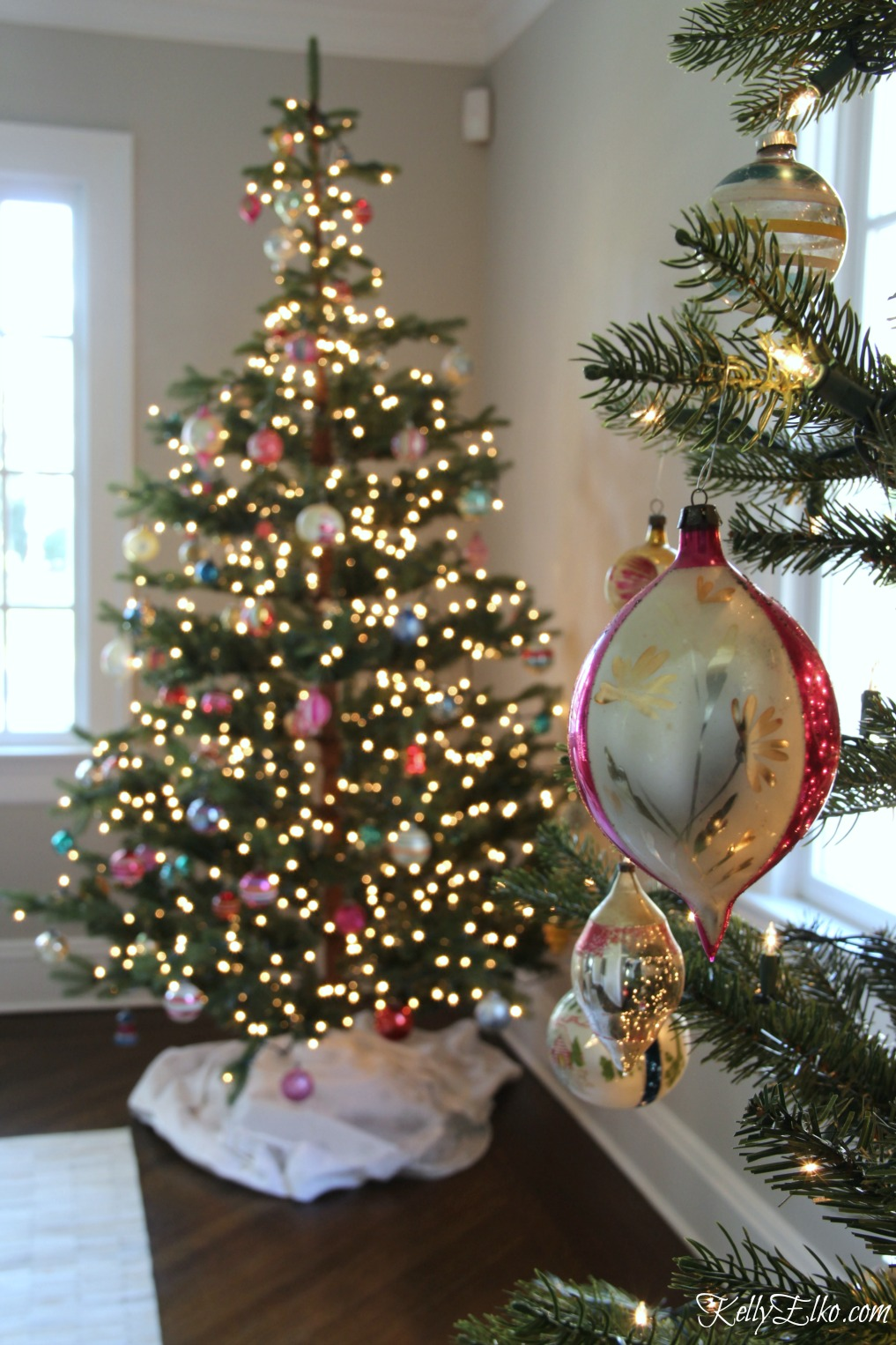 Christmas Home Tour - love these trees with vintage Shiny Brite ornaments kellyelko.com