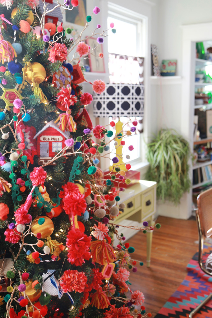 Christmas Home Tour - love this colorful tree and every ornament is a DIY
