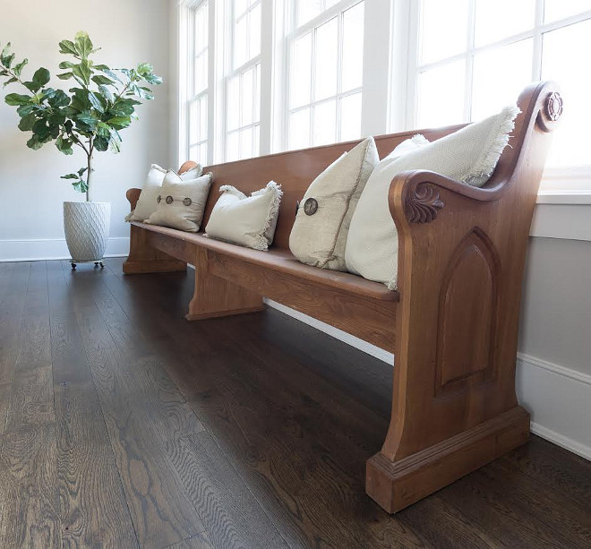 Eclectic Home Tour of Green Spruce Designs - love the old church pew