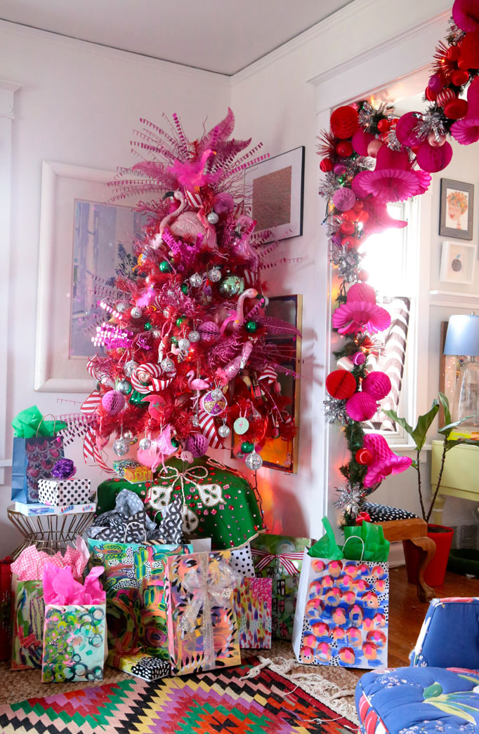Christmas Home Tour - love this pink flamingo tree and hand painted gift bags