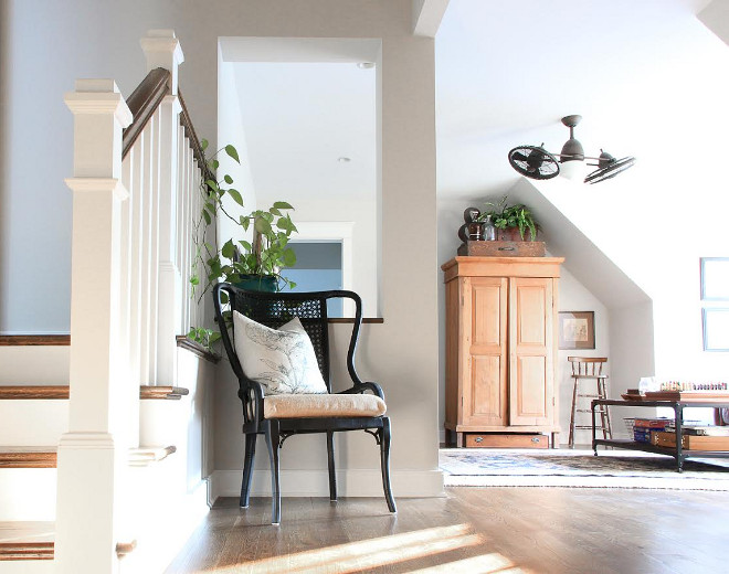 Eclectic Home Tour of Green Spruce Designs - second floor landing becomes a media room and office